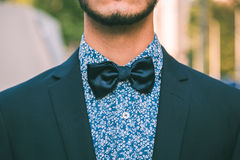 Detail of a young handsome man posing in the city streets Royalty Free Stock Image