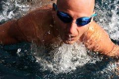 Detail of young man swimming. Splash Royalty Free Stock Photo