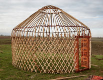 Detail of yurt. Portable, bent dwelling structure traditionally used by nomads in the steppes of Central Asia as their home stock photo