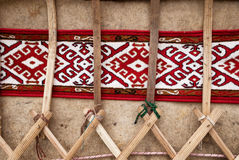 Detail of yurt. Portable, bent dwelling structure traditionally used by nomads in the steppes of Central Asia as their home stock photos
