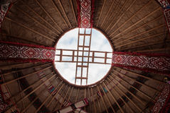 Detail of yurt. Shanyrak - The wooden crown of the yurt. Yurt - portable, bent dwelling structure traditionally used by nomads in the steppes of Central Asia as stock photos