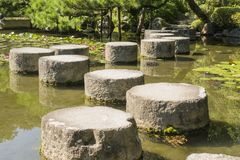 Detail of zen stone path in Japanese garden stock photography