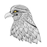 Detail zentangle eagle. For coloring page, tattoo, t shirt design, logo and so on vector illustration