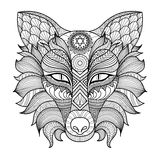 Detail zentangle fox coloring page vector illustration