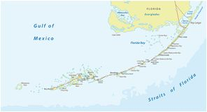 Detaild florida keys road and travel vector map.  vector illustration
