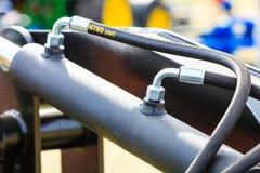 Detaild industriale pneumatico, macchina idraulica fatta di acciaio Fotografia Stock