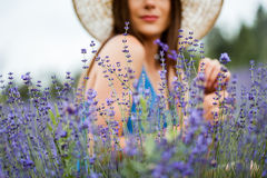 Detaile of a elegant dressed woman in a lavender stock photo
