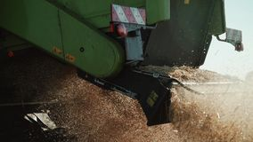 Detailed view of combine straw chopper stock video