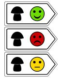 Direction sign for mushrooms with smileys. Detailed and accurate illustration of direction sign for mushrooms with smileys Royalty Free Stock Photo