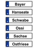 German specific vehicle registration plate on white Stock Photos