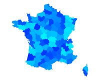 Map of France. Detailed and accurate illustration of map of France Royalty Free Stock Photos