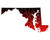 Map of Maryland. Detailed and accurate illustration of map of Maryland Royalty Free Stock Photography