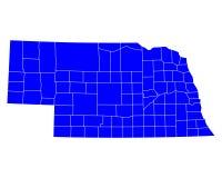 Map of Nebraska Stock Photo