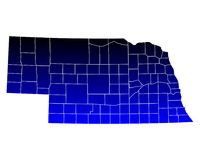 Map of Nebraska Royalty Free Stock Images