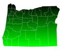 Map of Oregon. Detailed and accurate illustration of map of Oregon Stock Image