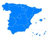 Map of Spain. Detailed and accurate illustration of map of Spain Stock Photography
