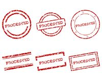 Processed stamps. Detailed and accurate illustration of processed stamps stock illustration