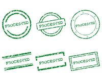Processed stamps. Detailed and accurate illustration of processed stamps royalty free illustration
