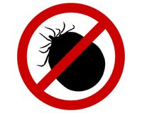 Prohibition sign for soaked ticks on white Stock Image