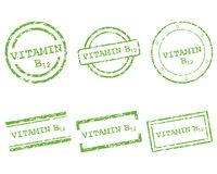Vitamin B12 stamps. Detailed and accurate illustration of vitamin B12 stamps Stock Photos