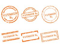 Vitamin B3 stamps. Detailed and accurate illustration of vitamin B3 stamps Royalty Free Stock Images