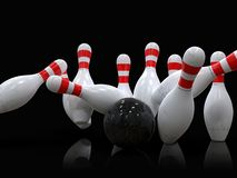 Bowling ball hitting all 10 pins, in a Strike, black background. Detailed action shot of bowling ball hitting all the ten pins, scoring a strike. Pins in motion royalty free illustration