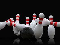 Bowling ball hitting all 10 pins, in a Strike, black background. Detailed action shot of bowling ball hitting all the ten pins, scoring a strike. Pins in motion stock illustration
