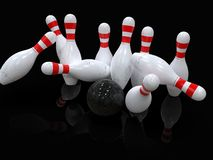 Bowling ball hitting all 10 pins, in a Strike, black background. Detailed action shot of bowling ball hitting all the ten pins, scoring a strike. Pins in motion vector illustration