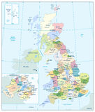 Detailed administrative map of the Great Britain Royalty Free Stock Image