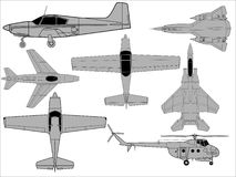 Detailed aircraft drawings Royalty Free Stock Images
