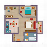 Detailed apartment furniture overhead top view Royalty Free Stock Image