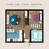 Detailed apartment furniture overhead top view. Studio Apartment. With One Bedroom. Flat style vector illustration Royalty Free Stock Photo