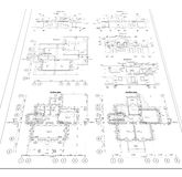Detailed architectural plan. Floor plan, facade, section, roof plan royalty free illustration