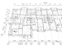 Detailed architectural plan. Floor plan, facade, section, roof plan stock illustration