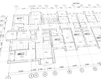 Detailed architectural plan, perspective view. Detailed architectural plan, floor plan, layout, perspective view royalty free illustration