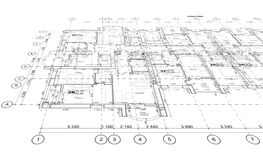 Detailed architectural plan, perspective view. Detailed architectural plan, floor plan, layout, perspective view stock illustration