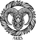 Detailed aries in aztec style Stock Photo