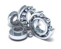 Detailed bearings production. 3D image vector illustration