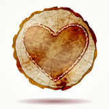 Detailed beautiful wood crosscut with a heart Royalty Free Stock Image