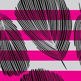 Black Graphic Feather Seamless Pattern on Pink and Grey Stripes. Detailed Black Graphic Feather Seamless Pattern on Pink and Grey Stripes vector illustration