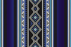 Detailed Blue Traditional Folk Sadu Arabian Hand Weaving Pattern Stock Photography