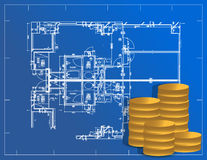 Detailed blueprint and coins illustration Royalty Free Stock Photography