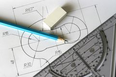 Detailed blueprints Stock Photography