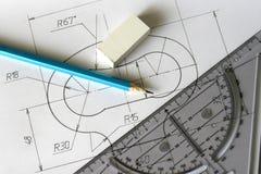 Detailed blueprints stock photography
