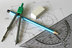 Detailed blueprints on paper Royalty Free Stock Photography