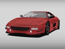 Realistic red car cartoon illustration art in wide screen ratio royalty free stock photography