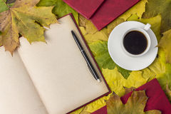 Detailed book, bright autumn leaves, a hot drink in a mug Stock Image