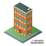 Detailed brick building in the isometric projection. Stock Image
