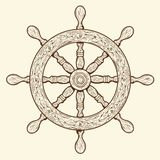 Detailed brown outlines nautical rudder isolated on beige background. Ship element. Royalty Free Stock Images