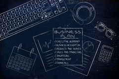Detailed business plan & stats documents on office desk Royalty Free Stock Photos
